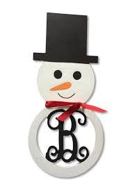 painted snowman wood initial monogram door wreath decoration