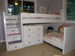 compact white wooden corner bunk bed with drawers of charming