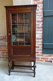 Glass Door Bookshelf Petite Antique English Oak Jacobean Leaded Glass Door Bookcase