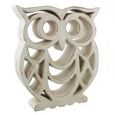wood sculpture shabby chic owl