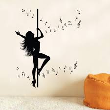 aliexpress com buy sexy girl pole dancing wall art mural decor aliexpress com buy sexy girl pole dancing wall art mural decor sticker creative music note wall decal sticker unique home decor wall applique from