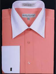daniel ellissa two tone coral french cuff dress shirt big