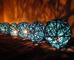 amazon com blue rattan ball patio party string lights 20 set