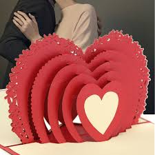 3d Invitation Card Red Heart 3d Pop Up Greeting Card Valentine Proposal Wedding Party