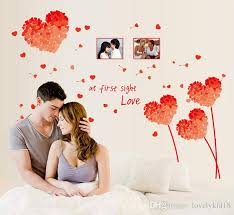 Heart Wall Stickers For Bedrooms Flower Heart Wall Stickers At First Sight Love Wall Decals