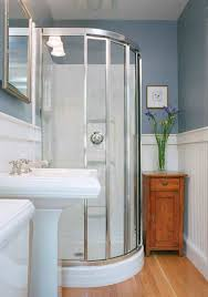 corner shower stalls for small bathrooms with wainscoting