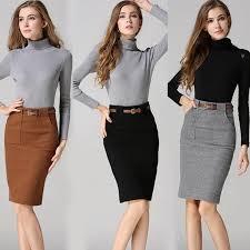 vintag woolen skirts womens high waist pencil skirt front split