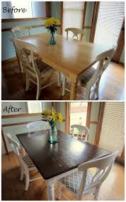 Dining Table White Legs Wooden Top Dining Table Makeover Before And After Top With Light White