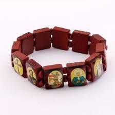 catholic bracelets catholic large squares wood bracelet with colorful religious image