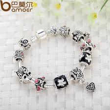 beads charm bracelet images 925 silver heart charm bracelet bangle with glass beads ace gems jpg