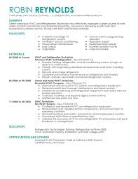 Maintenance Skills For Resume Best Hvac And Refrigeration Resume Example Livecareer
