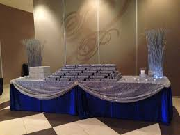 royal blue and silver receiving table wedding pinterest