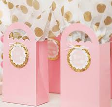 gold favor bags sparkly pink gold 3rd birthday party hostess with the mostess