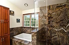 rainforest brown granite vanity tub surround and shower wall