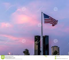 American Flag Sunset American Flag Flying Over The 9 11 Memorial Editorial Image