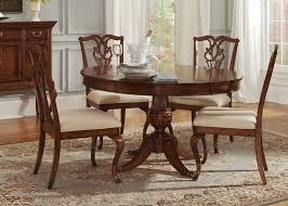 round kitchen table for 5 manor round pedestal table 5 piece dining set in cinnamon finish by