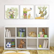 Kawaii Room Decor by Kawaii Cute Animal Deer Fox Large Canvas Art Print Poster Wall