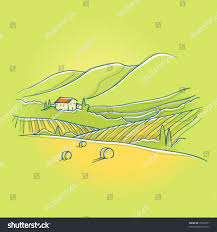 summer tuscan landscape sweet house on stock vector 75026371