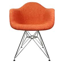 orange woolen fabric eames style accent arm chair