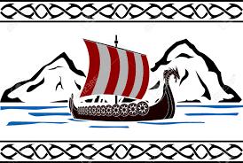 stencil of viking ship second variant vector illustration royalty