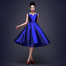 new high quality simple royal blue cocktail dresses lace up tea