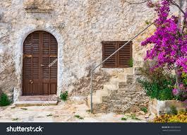 door window mediterranean house rustic stone stock photo 650739142