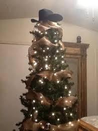 Cowboy Christmas Decorating Ideas Cowboy Christmas Tree Christmas Tree Decorated With Raffia Bows