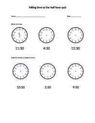telling time half hour telling time to the half hour quiz by megan tpt