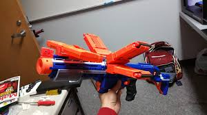 nerf car gun 3d printed nerf retaliator pump grip spitting dinosaur style