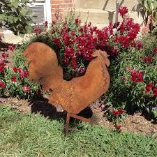 rooster garden stake or wall hanging garden chicken