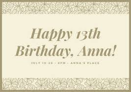 vintage ornate border 13th birthday card templates by canva