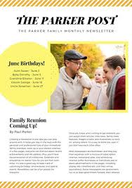 yellow and orange stripes family newsletter templates by canva