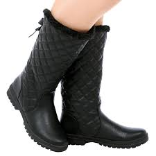 womens boots bc d6z womens quilted faux fur lined sole mid calf boots