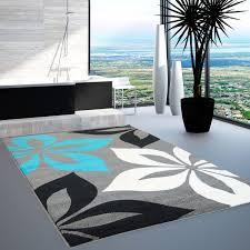 Wohnzimmer Grau Creme Teppich Modern Moda öko Tex Blume Grau Türkis Creme Schwarz 80x150