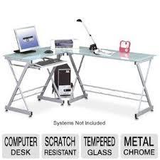 techni mobili rta 3802 l shape glass desk chrome at tigerdirect com