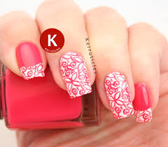 pink and white stamped floral tips kerruticles
