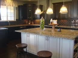 Glass Pendant Lights For Kitchen Island Magnetic Espresso Kitchen Cabinets With White Island And