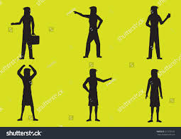 lime silhouette set six vector illustrations silhouettes woman stock vector