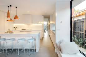 copper lampshades white kitchen cos interiors pty ltd