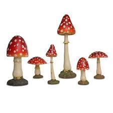 buy set of six coloured resin or toadstool garden