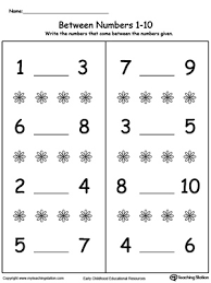 number in between 1 through 10 worksheet worksheets math and
