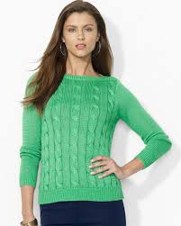 womens ralph sweater lyst ralph cableknit cotton sweater in green