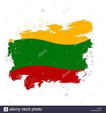 Flags That Are Orange White And Green Lithuania Flag Grunge Style On White Background Brush Strokes And