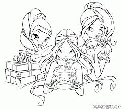 coloring page winxs party
