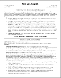 Information Technology Resume Skills It Manager Resume Examples Resume Example And Free Resume Maker