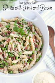 easy pasta recipes lightened up pasta with peas and bacon two healthy kitchens