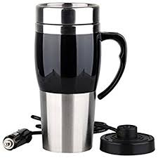 heated coffee mug 12v heated travel mug stainless steel amazon co uk kitchen home