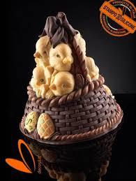 basket of lineaguscio bell mold chocolate easter egg