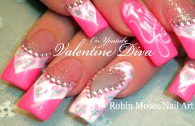 valentine bling diva nails pink leopard print heart nail art
