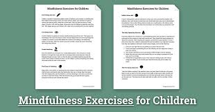 mindfulness activities for children worksheet therapist aid